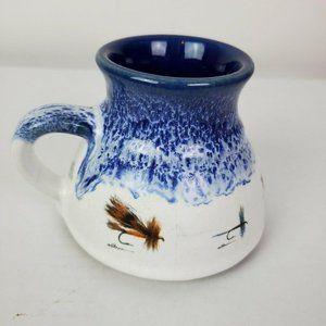 VTG 1991 Anglers Expressions Blue Fly Fishing Mug